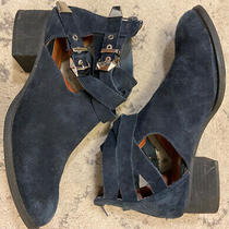 Jeffrey Campbell Womens Leather Suede Silver Buckle Zip Booties Sz 9.5 Navy R1 Photo