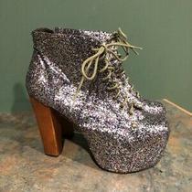Jeffrey Campbell Women's Lita Glitter Platform Boots Size 10m Photo