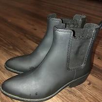 Jeffrey Campbell Women's Matte Black Rubber Forecast Chelsea Rain Ankle Boots Photo