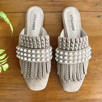 Jeffrey Campbell Women's Mule Shoes. Sz. 7.5 Taupe Suede. Studded Pearls Fringe Photo