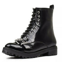 Jeffrey Campbell Womens Size 5.5 Black Leather Combat Boots Upper Buckle Strap Photo
