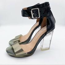 Jeffrey Campbell Women's Size 7.5 Soiree Metallic Gold Ankle Strap Clear Heels Photo