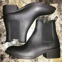 Jeffrey Campbell Women's Size 8 Matte Black Rubber Chelsea Rain Ankle Boots  Photo