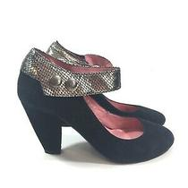 Jeffrey Campbell Womens Black Suede Heels With Ankle Strap Size 8.5 Snakeskin Photo