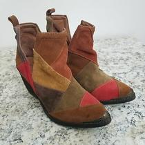 Jeffrey Campbell Womens Booties 6 Orwell Brown Red Suede Colorblock Pointed Toe Photo