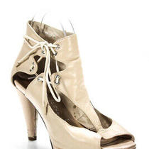 Jeffrey Campbell Womens High Heel Cut Out Peep Toe Pumps Beige Leather Size 8.5 Photo