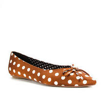 Jeffrey Campbell Womens Lavinia Pointed Toe Polka Dot Flats Brown Size 7 Photo