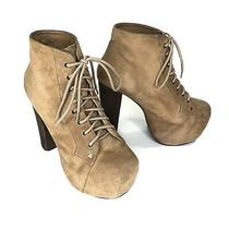 Jeffrey Campbell Womens Lita Size 7 Brown Suede Lace Up Platform Boots Booties Photo