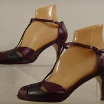 Jeffrey Campbell Womens New T-Strap Purple Gray Leather Heel Shoe Shoes Size 8 Photo
