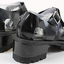 Jeffrey Campbell Womens Platform Leather Loafers Shoes Black 9 New Photo