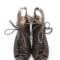 Jeffrey Campbell Womens Side Zip Lace Up Strappy Sandals Brown Leather Size 8 Photo