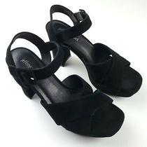 Jeffrey Campbell Womens Slip on Black Leather Open Toe Block Heel Sandal Size 8m Photo