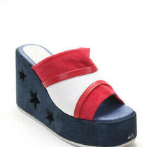 Jeffrey Campbell Womens Star Wedge Platform Sandals Red White Blue Suede Size 8 Photo