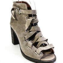 Jeffrey Campbell Womens Suede Salazar Buckle Strap Chunky Sandals Gray Size 8.5m Photo