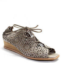 Jeffrey Campbell Womens Wedge Heel Laser Cut Sandals Brown Suede Size 10 Photo
