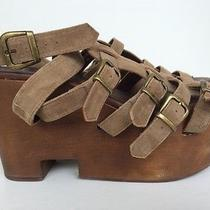 Jeffrey Campbell Wood Wedge Brown Suede Gladiator Sandals Size 8 Photo