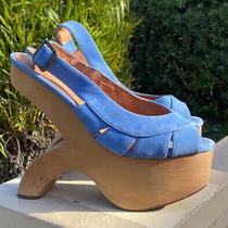 Jeffrey Campbell Wooden Platform Blue Suede Dress Sandals Sz 8.5 Photo
