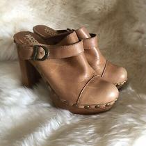 Jeffrey Campbell Woodies 10 Charli C Mules Clogs Heels Light Brown Retro Leather Photo