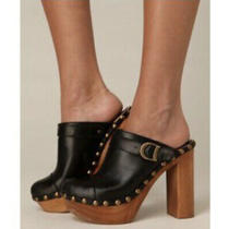 Jeffrey Campbell Woodies 9 Charli C Mules Clogs Heels Black Retro Leather Studs Photo