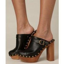 Jeffrey Campbell Woodies 9 Charli C Mules Clogs Heels Black Retro Leather Studs Photo