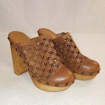 Jeffrey Campbell Woodies Brown Leather Wooden Block Heel Platform Clogs Size 8m Photo