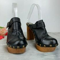 Jeffrey Campbell Woodies Charli C Mules Clogs Heel Black Retro Studs Sz Eu37 Us7 Photo