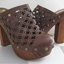 Jeffrey Campbell 'Woodies' Laser Cut Brown Leather Platform Wood Mules 8m Photo