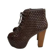 Jeffrey Campbell Woven Lita Size 9 Womens Brown Faux Leather Lace Up Bootie Heel Photo