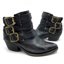 Jeffrey Campbell X Free People Boots Booties 7 Distressed Buckle Western Black Photo