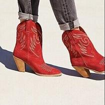 Jeffrey Campbell X Free People West Side Western Boot Sz 5 Women Red 228 L27 Photo