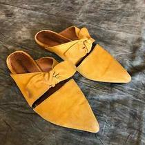 Jeffrey Campbell Yellow Suede Mules Shoes Slip on Size 8 Bow Photo