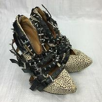 Jeffrey Campbell Zip 2 Stud Jaguar Animal Point Platform Women Wedge Heels Sz 6 Photo