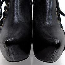 Jeffrey Campbell Zup Wedges Black Leather Platform Corset Lace 7.5 Barely Worn Photo
