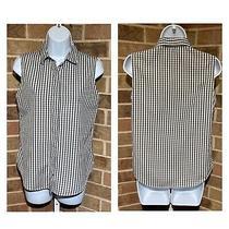 Jenni Kayne Sleeveless Top Shirt Black White Gray Gingham Collared Button Sz Xs Photo