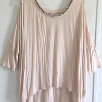 Jennifer Lopez Beaded Cold Shoulder Top Cutout Open Back Blush Pink High Low S Photo