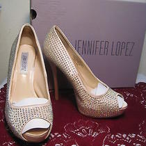 Jennifer Lopez Blush Embellished Platform Peep Toe Pump Elegance Size 6  M Photo