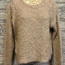 Jennifer Lopez Blush Pink Metallic Knit Fuzzy Mohair Faux Fur Sweater Size S / M Photo
