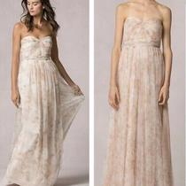Jenny Yoo Collection Bridesmaid Dress Blush Pink Maxi Sz 6 Floral Strapless Photo