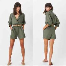 Jens Pirate Booty Linen Blend Imperial Romper Green Sz L Utility Belted Jumpsuit Photo
