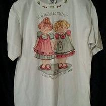 Jerzees Womens White Sisters T Shirt With Puffy Paint Sz M Photo
