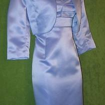 Jessica Howard Blue Periwinkle Satin 2pc Social Cocktail Mother Suit Dress 4p Photo