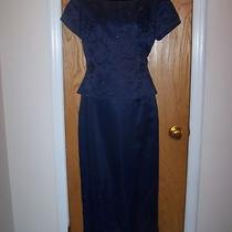 Jessica Howard Navy Blue Fancy Formal Mother of Ide Beaded Dress Size 6 Photo