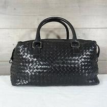 Jessica Jensen Black Woven Leather Satchel Handbag Purse Hobo Tote  Photo
