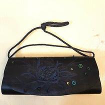Jessica Mcclintock Baguette Clutch Purse Navy Blue Satin Beaded Shoulder Bag New Photo