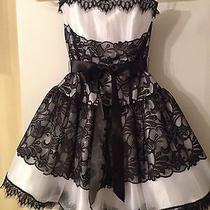 Jessica Mcclintock Black and White Lace Strapless Short Formal Dress Size 2 New  Photo