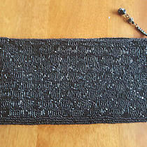 Jessica Mcclintock Black Beaded Clutch Beautiful   Photo