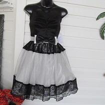 Jessica Mcclintock Black & Silver Lace Strapless Short Formal Dress 7 Nwt 139 Photo