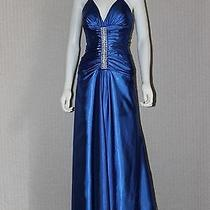 Jessica Mcclintock  Blue Polyester Neck Halter Prom Dresses  2 Photo
