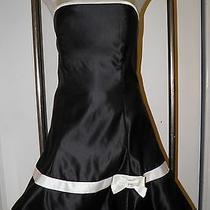 Jessica Mcclintock for Gunne Sax Dress Short Formal Size 11 Black Satin W/white Photo