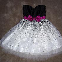 Jessica Mcclintock for Gunne Sax Short Formal Dress Black/pink/cream Size 5 Photo
